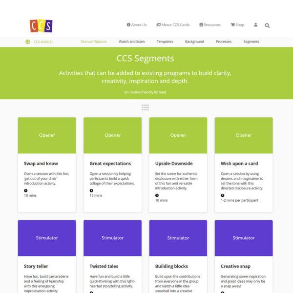 CCS World screen shot - CCS image cards - segment activities