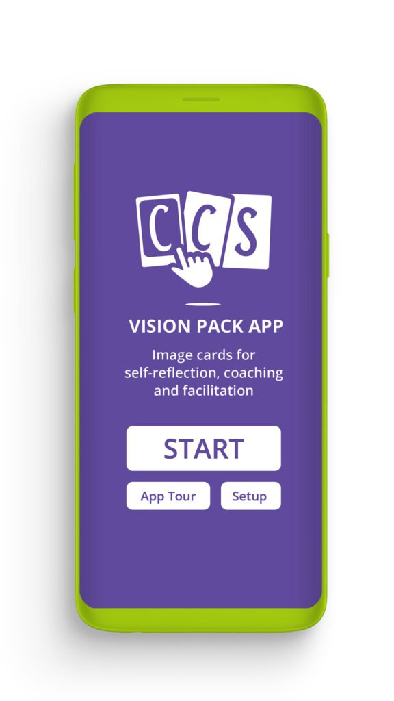 CCS virtual image cards app - Start Screen